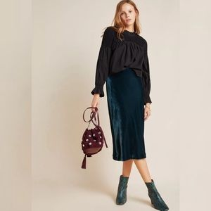 Anthropologie Kelly Velvet Midi Skirt NWT